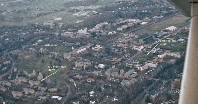 1964 arial photo of Cornell campus