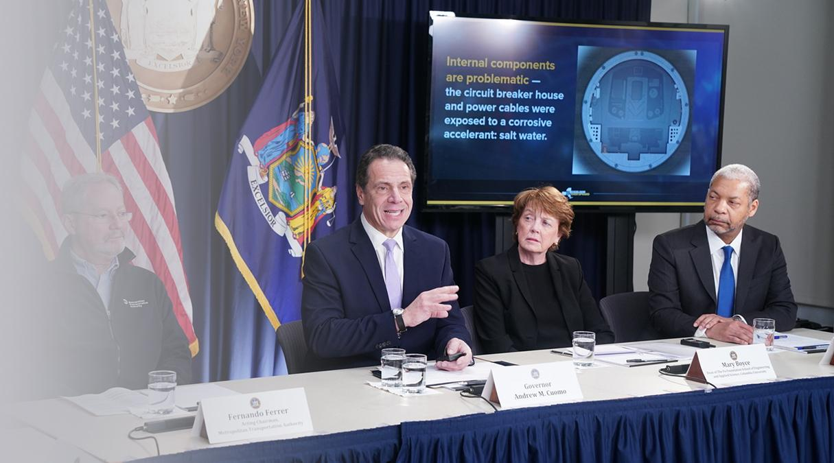 Cornell Engineering Dean Lance Collins, Columbia Engineering Dean Mary Boyce, and New York Governor Andrew Cuomo discuss repairs to the L Train tunnel.