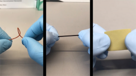 The elasticity of a biodegradable, metal-ion elastomer is demonstrated. The first-of-its-kind material, developed by Cornell engineers, can be used to repair skin, blood vessels and other soft tissue