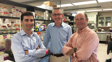 Matt DeLisa, David Putnam, and Gary Whittaker in the lab