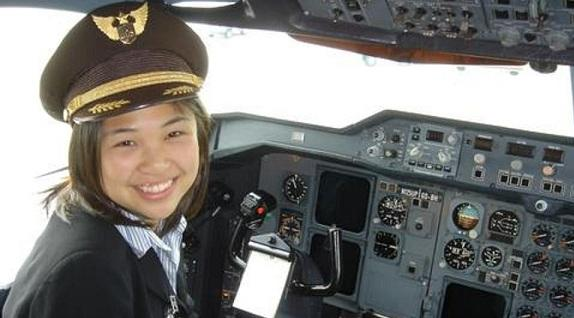 Photo of Co-op student in cockpit of UPS plane