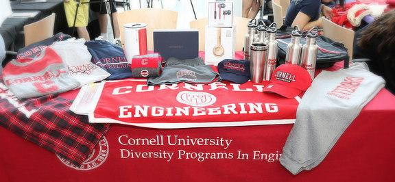 Table display of Cornell University, Cornell Engineering, and DPE branded items