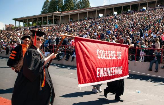 College of Engineering Banner at Commencement