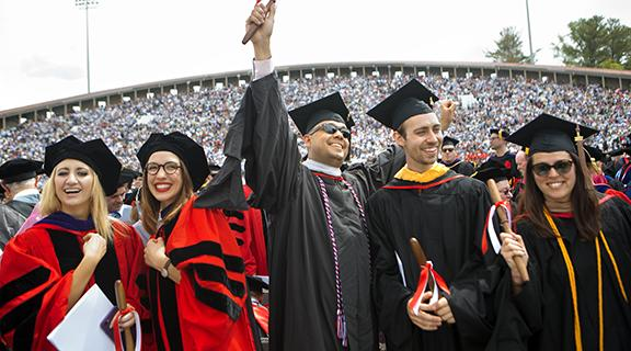 Photograph of Ph.D. and masters students at graduation